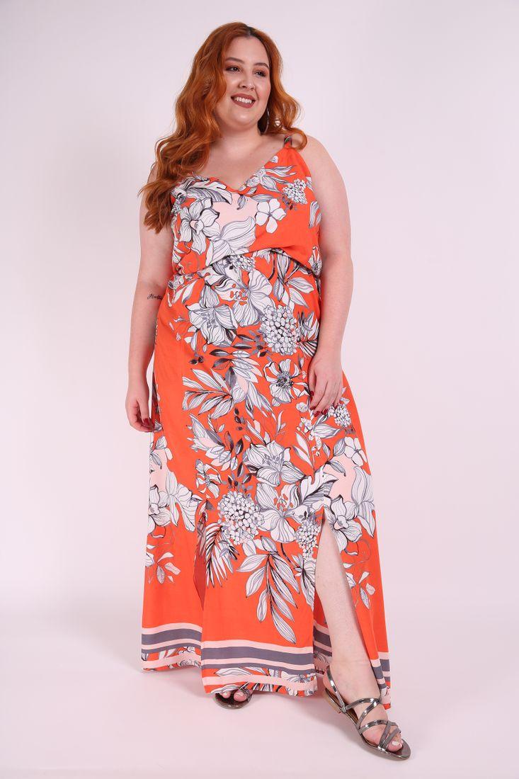 Vestido Longo Estampado Plus Size Laranja Kaueplussize Mobile