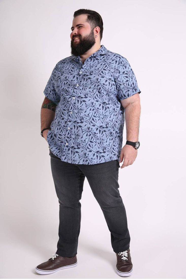 Camisa-manga-curta-folhagem