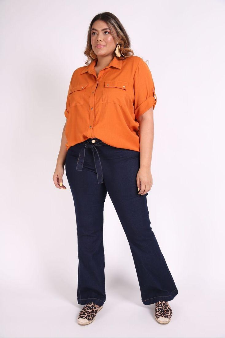 Camisa-manga-curta-bolsos-plus-size