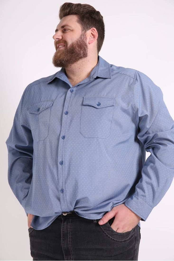 Camisa-masculina--manga-longa-com-bolsos-plus-size