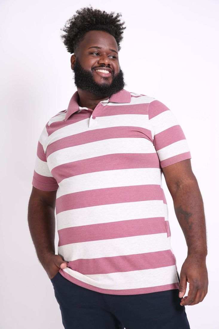 Camisa-polo-mescla-listrada-plus-size