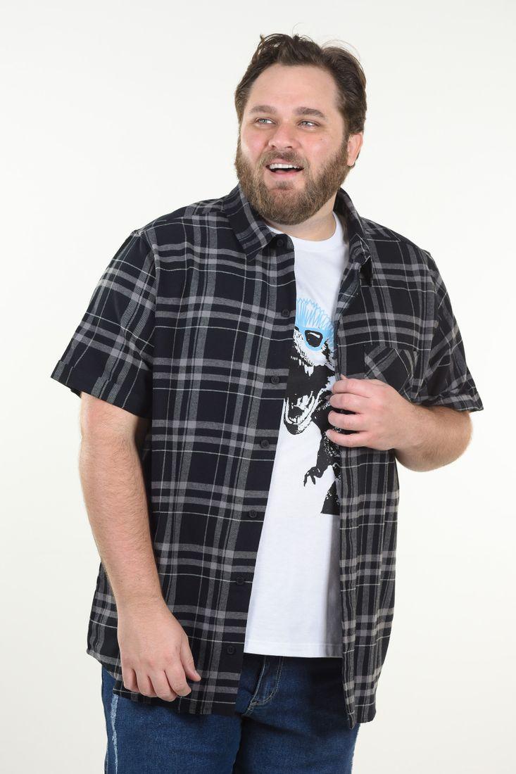 Camisa-xadrez-manga-curta-plus-size