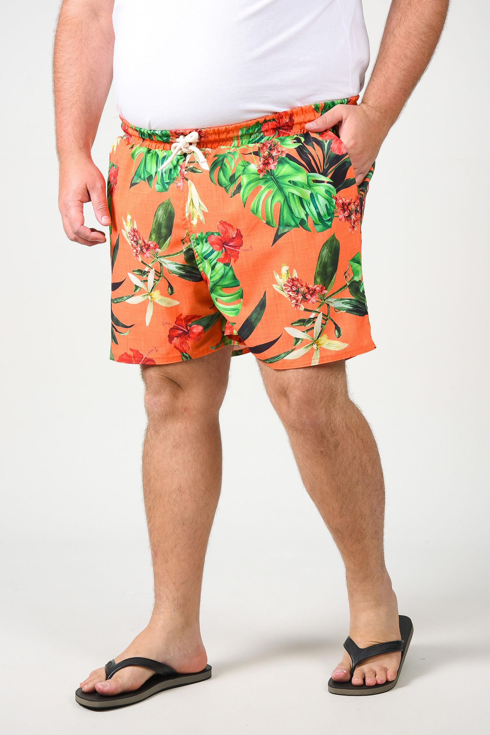 Shorts de tactel estampado plus size laranja