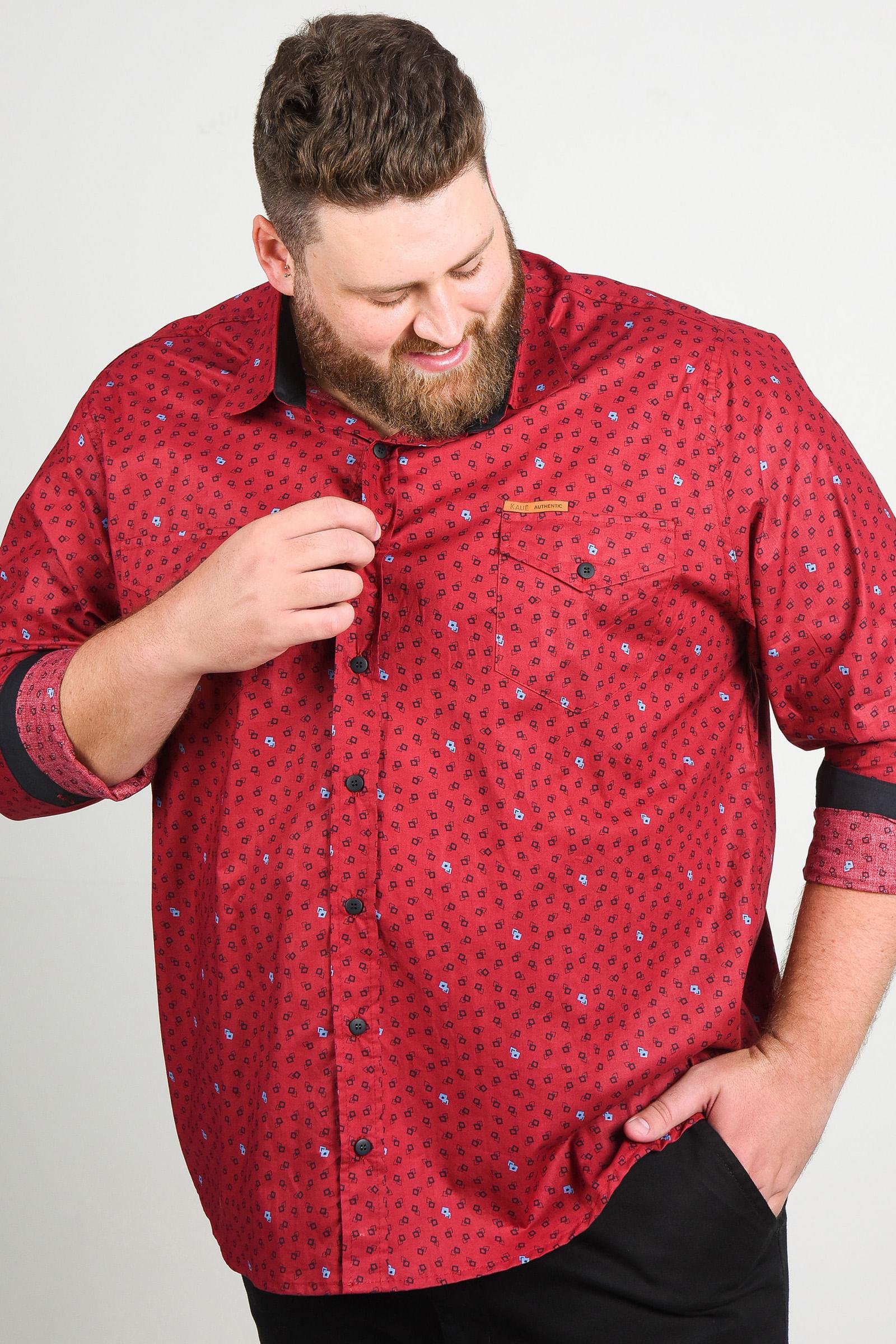 Camisa estampada manga longa plus size vinho