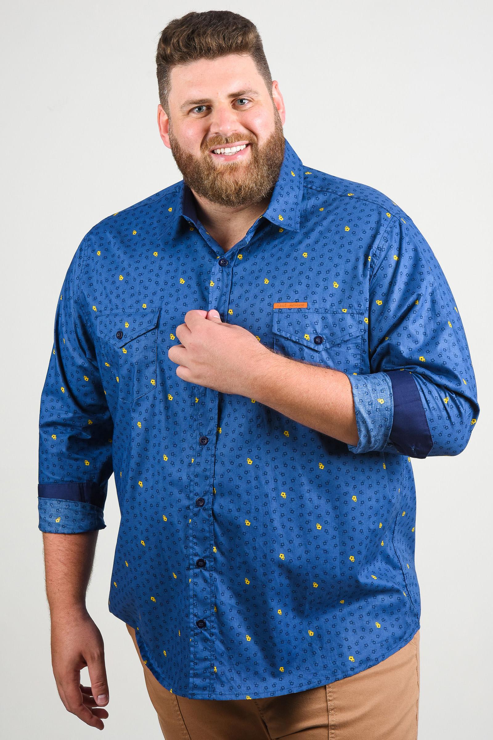 Camisa estampada manga longa plus size azul