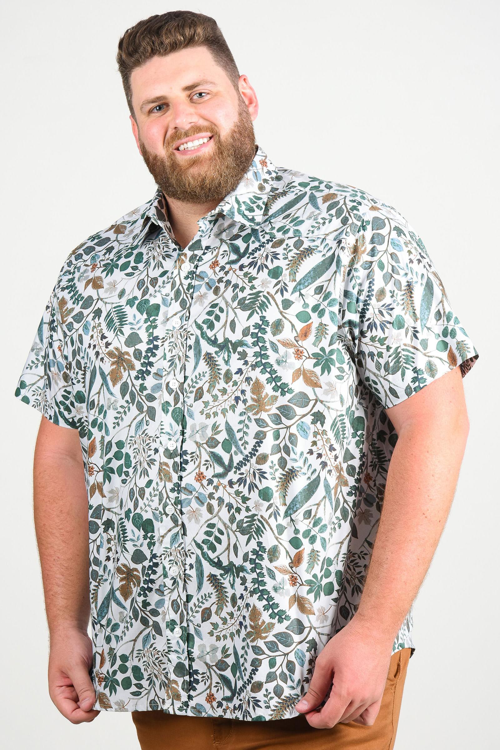 Camisa estampa de folhagem manga longa plus size cinza