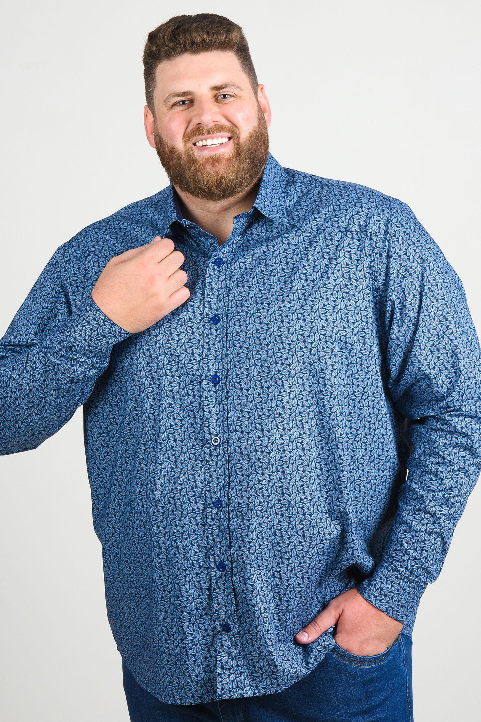 Camisa estampa de flores manga longa plus size azul