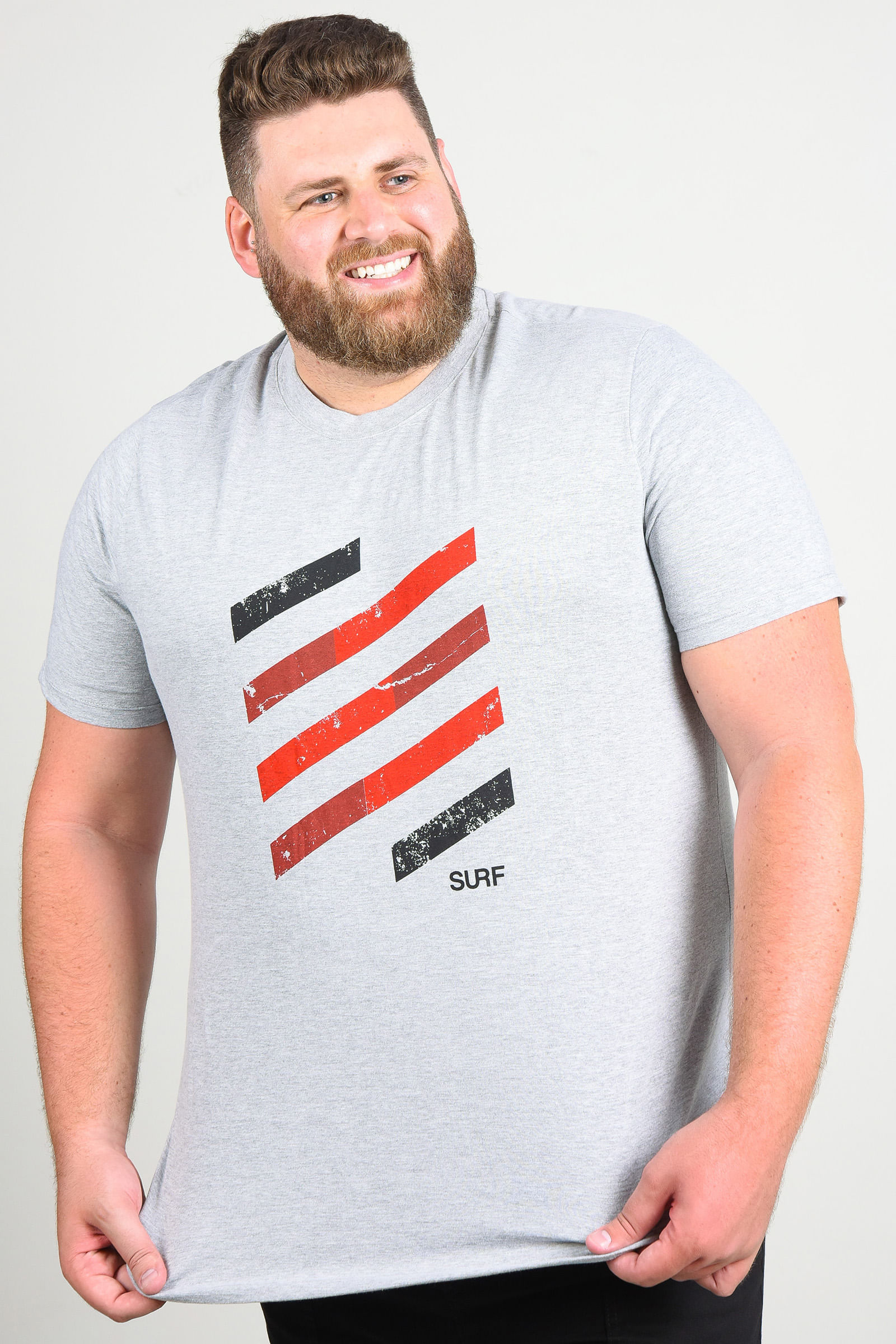 Camiseta com estampa surf plus size cinza