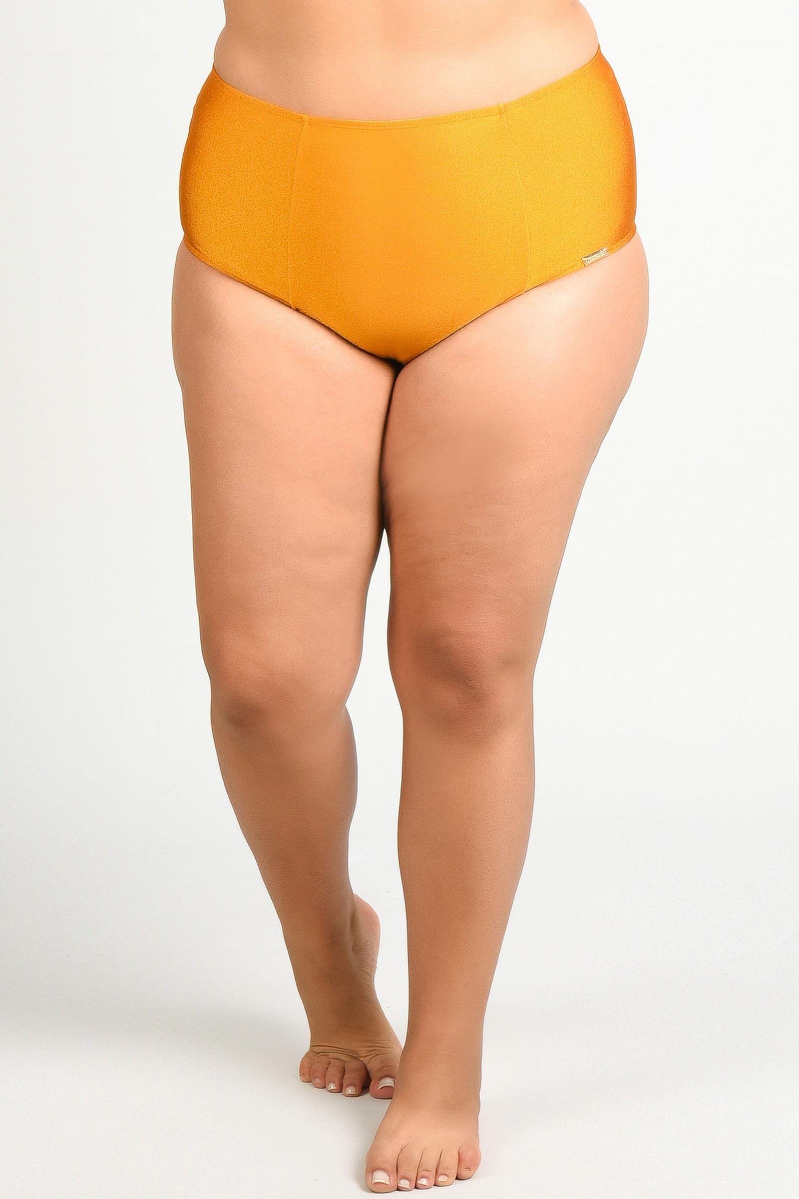 Calcinha biquíni lisa  alta plus size laranja