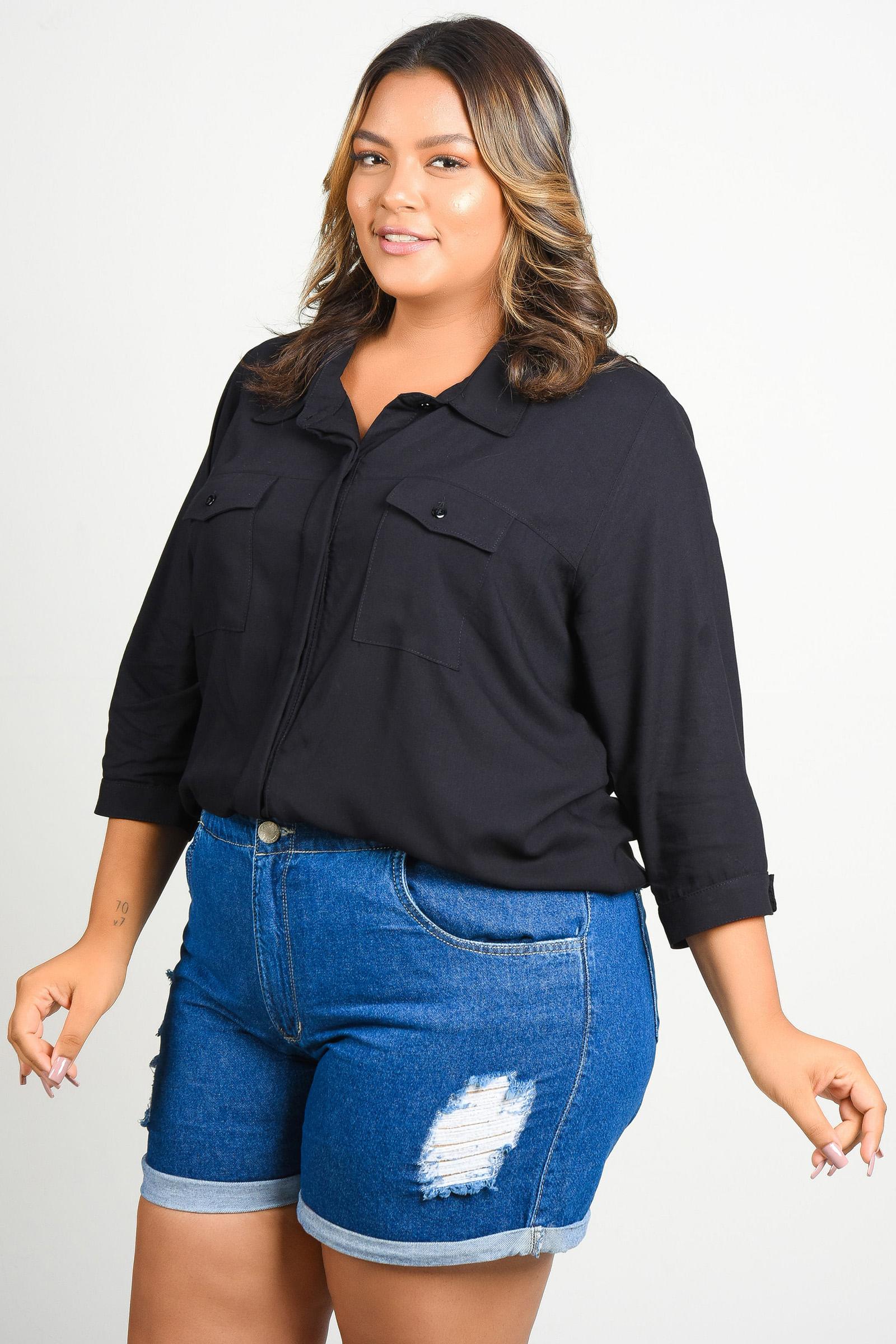 Camisa de viscose plus size preto