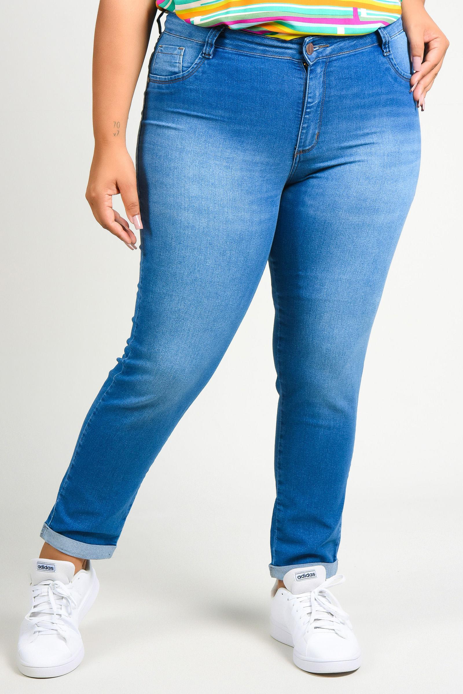 Calça skinny jeans barra virada plus size jeans blue