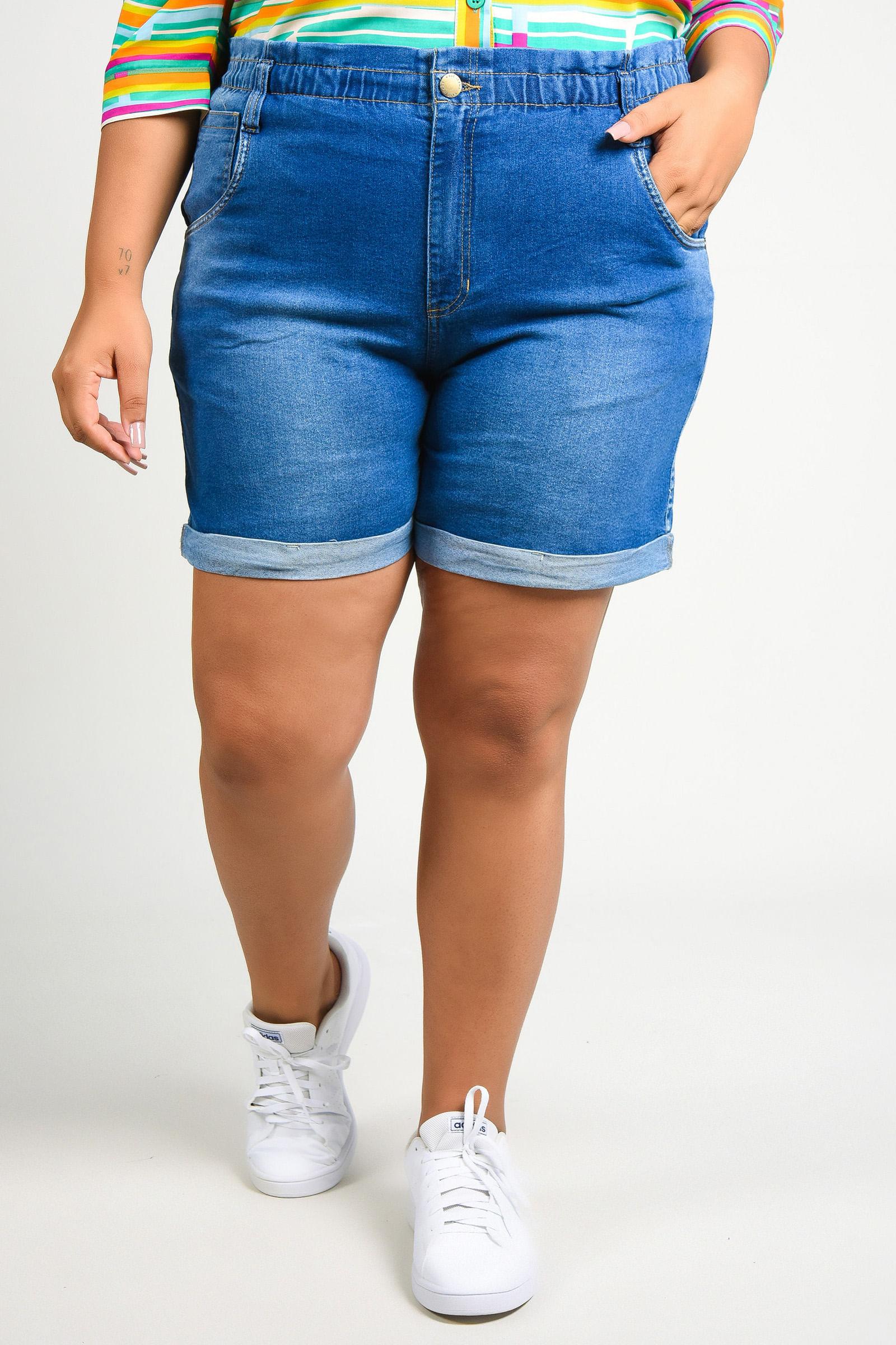 Shorts jeans com elástico no cós plus size jeans blue
