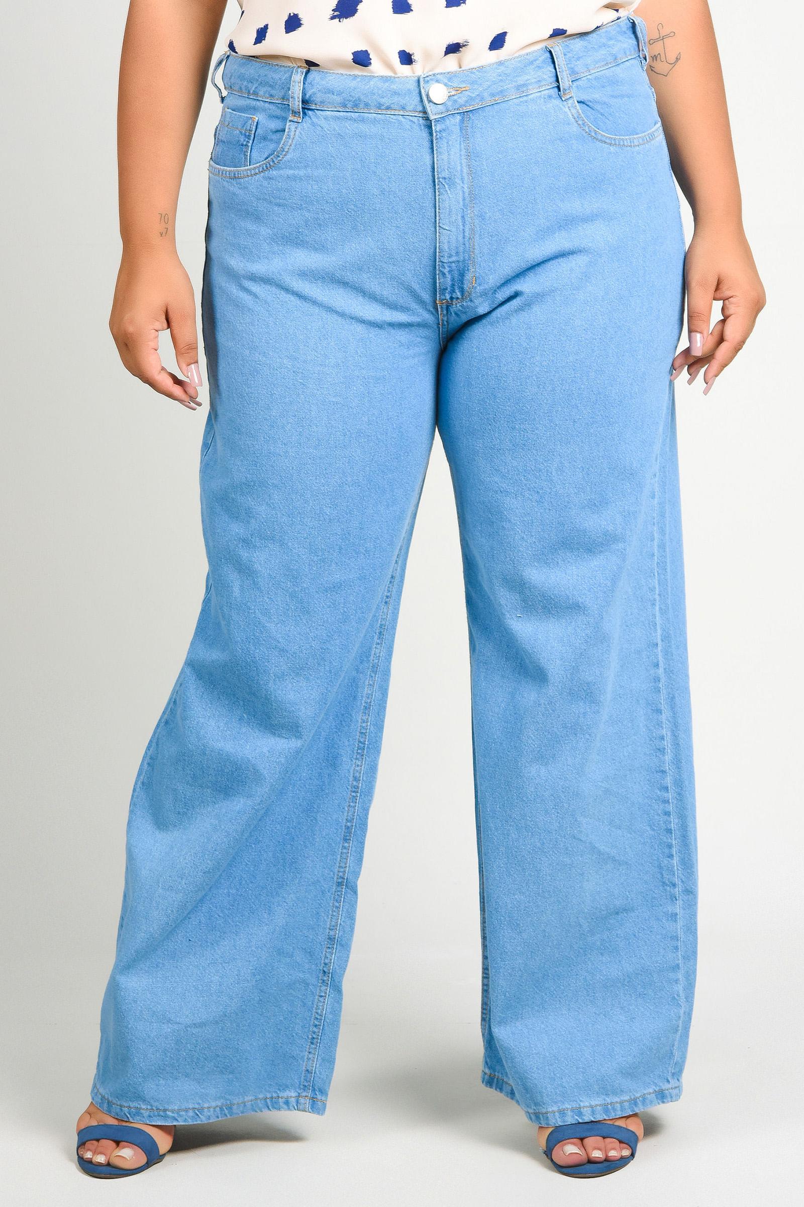 Calça wide leg plus size jeans blue